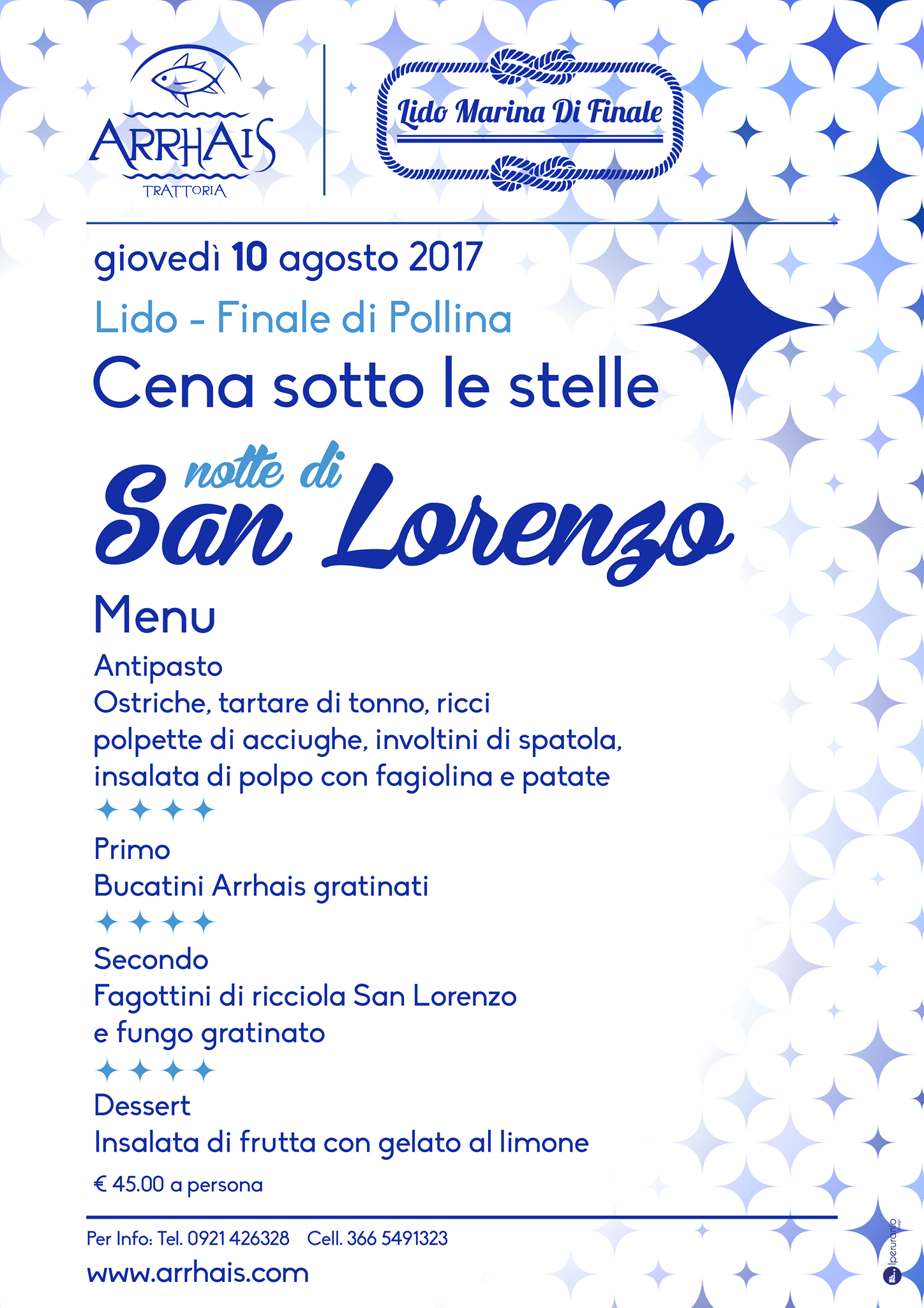 Cena sotto le stelle per la lunga notte di San Lorenzo